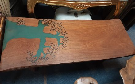 REDUCED Teak table with green tree insert